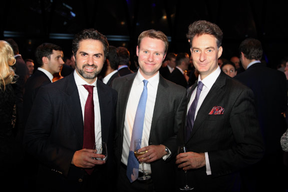 Kamel Alzarka, founder of Falcon Group with  Chris Howarth and Tim Hunter from Falcon Fine Art