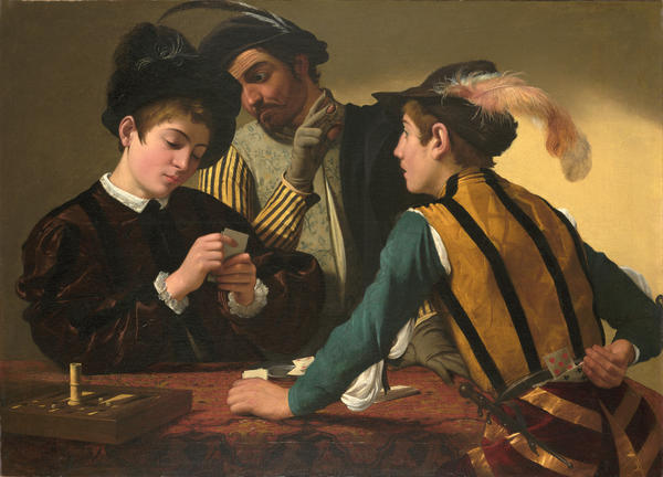 Michelangelo Merisi da Caravaggio 'The Cardsharps' currently on display at the Kimbell Museum, Fort Worth, Texas.